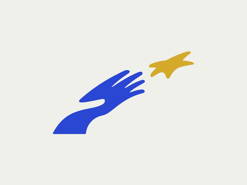 YNF negative gold blue network youth foundation reach star hand logo