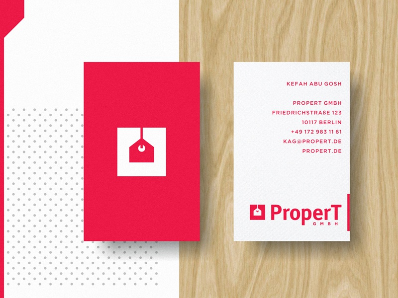 P-Cards business card wood red agency estate real tag house print logo