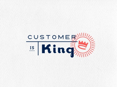 Customer is King open logo crest table line stamp crown king royal blue red typography circle sun initials financial trust passport post