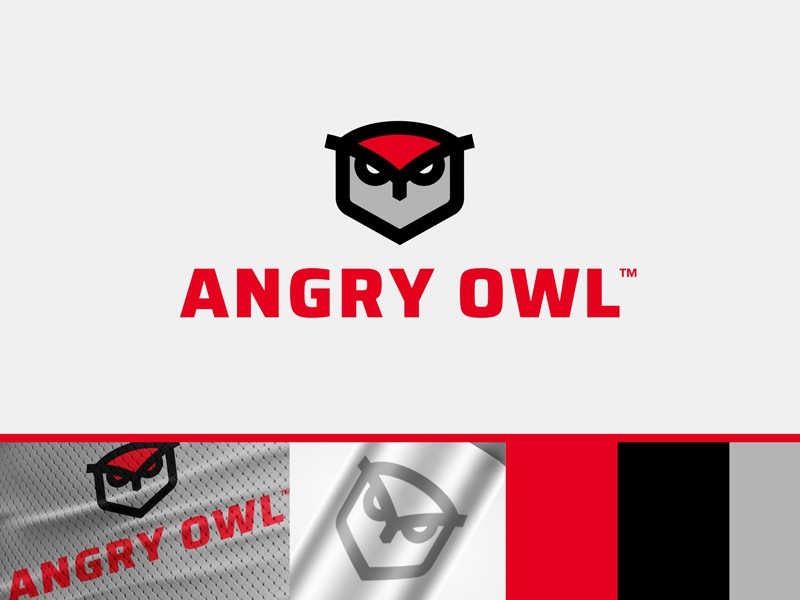AO Equipment Brand hoot red angry owl bird sports equipment nature outdoor logo