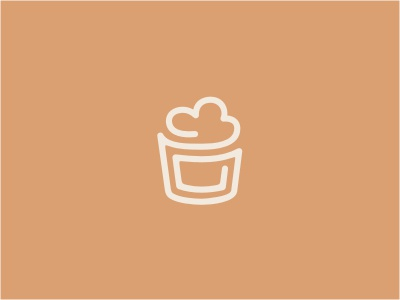 Yaourt Mark logo cup ice cream frost frozen yogurt cloud line monoline linear brown beige label food