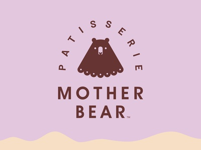 Mother Bear cream food patisserie pastry cookie cake sweet mother bear wild animal logo