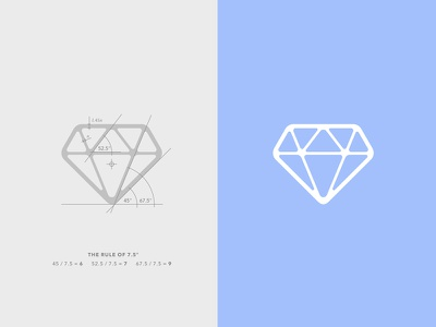 7.5 Diamond cut grid ratio rule angle construction flawless icon diamond logo
