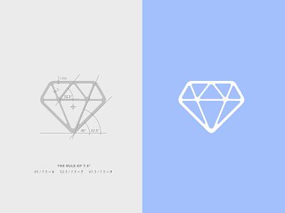 7.5 Diamond cut grid ratio rule angle construction flawless icon diamond logo