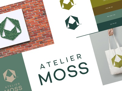 Atmoss Brand arrow wood initials monogram green office space work plant nature moss atelier logo