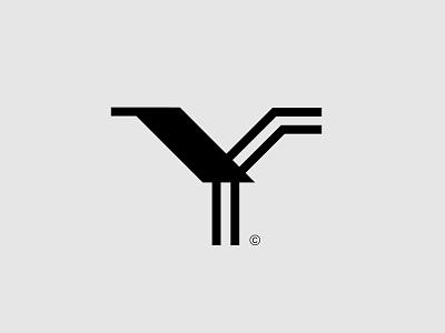 Lettermark Y black line bird animal typography letter initials lettermark monogram logo