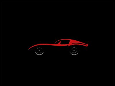 The Ride corvette car vehicle silhouette red gray 3d ride automotive wheels negative logo illustration