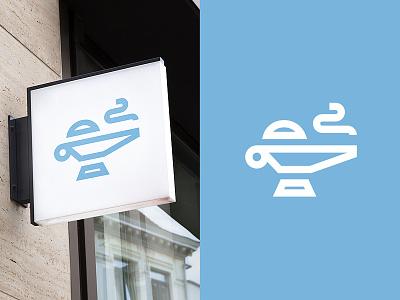 Genie monoline icon rub smoke sign wall blue production unit ac lamp genie logo