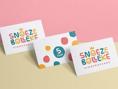 SB Daycare nursery care happy fun colorful dots kindergarden daycare crown kids child business card logo