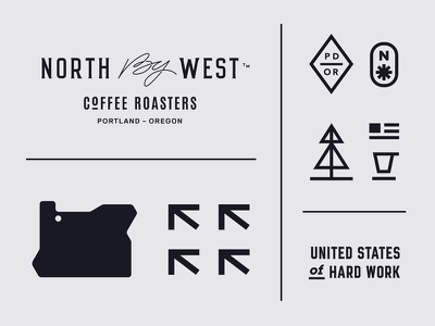 NBW Assets seal pine tree flag cup rose compass west north set coffee topography map usa oregon icons icon asset brand