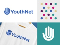 YNF Bermuda people human dots colorful monoline line network youth foundation hand logo