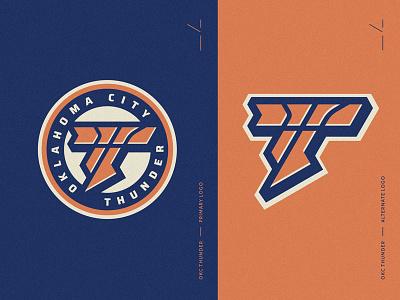 OKC Thunder Re-Brand team circular seal emblem shield superhero hero comic redesign rebrand oklahoma okc orange blue ball thunder nba basketball sports logo