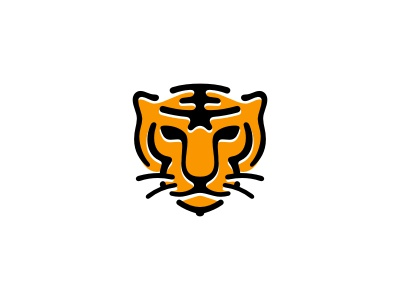 Young Tigers logo animal head tiger wild cat black yellow school education sports mascot youth