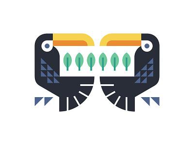 Toucanatura geometry colorful beak logo feather emblem shield leaf plant tree nature bird toucan