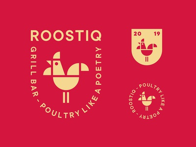 Roostiq Grill Bar poetry geometry seal red food emblem shield restaurant bar grill cock bird animal rooster logo