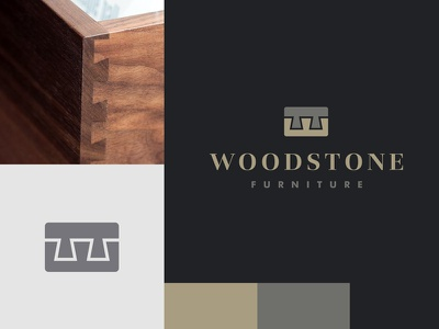 WSF initials gold construction dovetail miter quality royal crown product interior furniture concrete stone wood logo