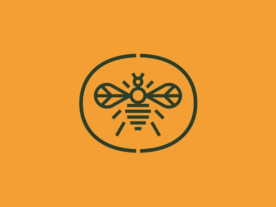 Beehaviour monoline line peace beehive hive hub business network honey bee bug insect animal logo
