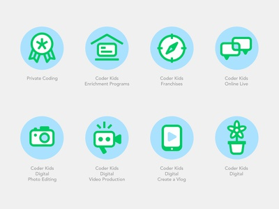 Coderkids Programs rounded program playful it development education code coding child kid set icons icon