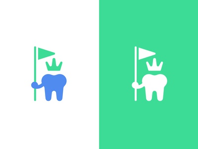 Toothland dentist dds victory land brave flag king queen crown care children kids pediatric office dental tooth logo