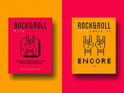 RNRWE Encore roll party ember app retro pixel encore hand rock music it print editorial cover book logo