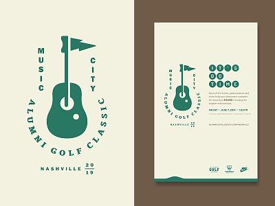 MCAGC crest alumni tournament outdoor green hole flag guitar music event golf sports poster logo