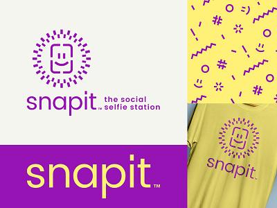 Snapit fun typography logotype pattern purple yellow face frame smiley flash station party selfie snap photo camera logo