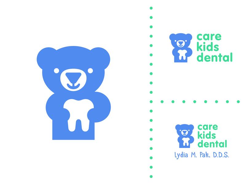 CKD heart health toy animal smile blue negative care children kids cute dentist dental tooth bear logo