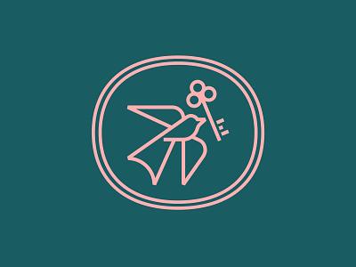 Keybird luxury fly seal oval monoline key bird animal logo