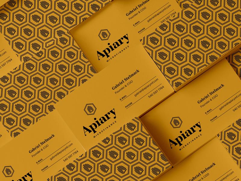 AMF Cards logotype hexagon financial finance yellow hive beehive apiary business card logo print