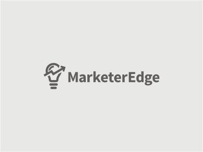 Marketer Edge logo bulb light chart financial gray arrow cut management