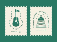AGC Events 01 tournament emblem crest capitol stamp green star ball construction building dc equipment guitar music event outdoor sports golf logo
