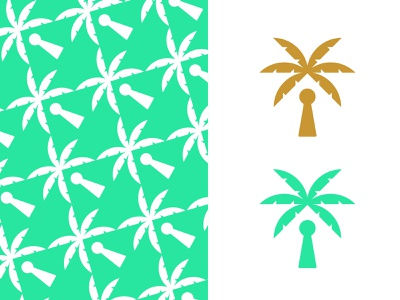 Key Palm pattern leaf negative green gold symbol key room escape room escape clue keyhole nature palm tree logo