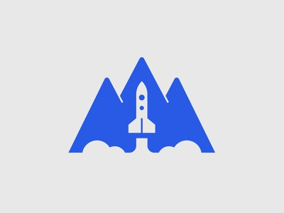 Rocket Mountain smoke lift blue negative nature mountain explore universe space spaceship rocket logo