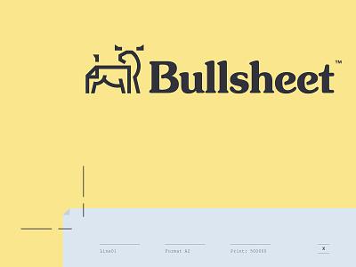 Bullsheet Printing horns line monoline retro icon packaging mail notebook bulk document sheet bull animal paper print logo