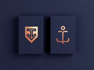 Copper Anchor human arrow maritime foil monoline shield hvac business card indigo copper anchor ocean sailing sea marine logo