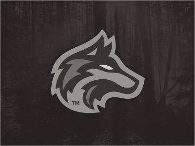 KC Wolves logo animal head wolf sports team gray eye forest mascot wolves thunder