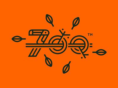 700 Logos Designed milestone orange leaf work branch toucan bird animal number logo