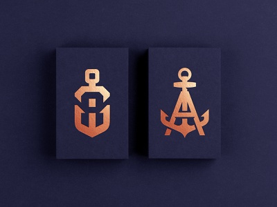 Copper Anchor Vol 2 negative initials sea sailing ocean monoline maritime marine logo indigo human hvac foil copper business card arrow anchor
