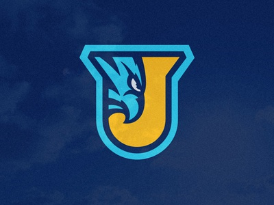 J Shield thunder logo shield crest emblem security animal bird eagle eye initials blue yellow shadow sports bolt mascot