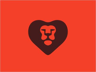 New Lion logo head animal lion wild heart orange brown sports chocolate shadow love cat negative mascot