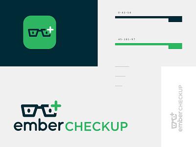Ember Checkup eyes green ember code software checkup check symbol plus glasses icon logo