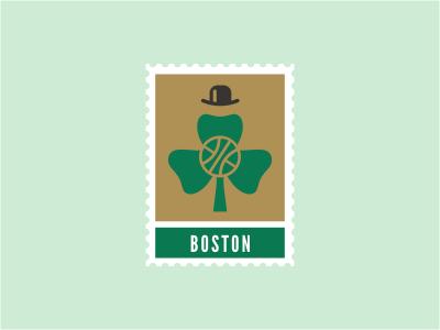 Boston Celtics nba plant logo stamp sports basketball ball clover leaf hat green gold