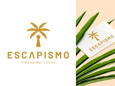 Escapismo tree symbol room palm negative nature leaf keyhole key gold escape room escape clue logo