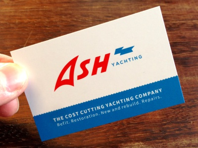ASHY stationery logo business card print yacht yachting sea wave ocean blue red flag shadow ship boat sailing marine