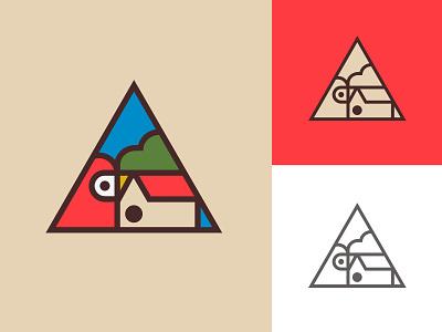 Birdhouse geometry red colorful emblem triangle building construction tree sky nature birdhouse house animal bird logo