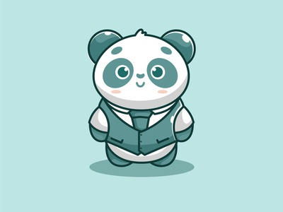 mr cute panda blue