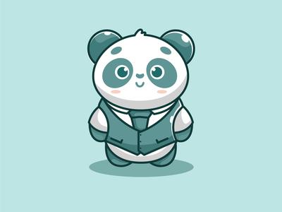 mr cute panda blue