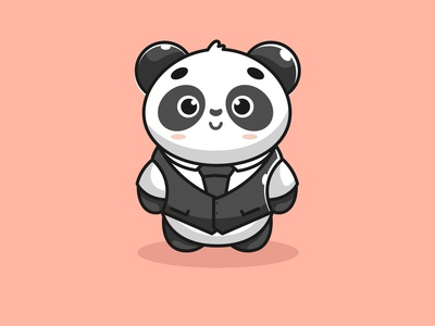 mr cute panda black