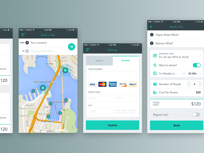Booking a Water Taxi UI/UX