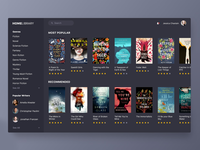 Book App Concept for Web Dark UI